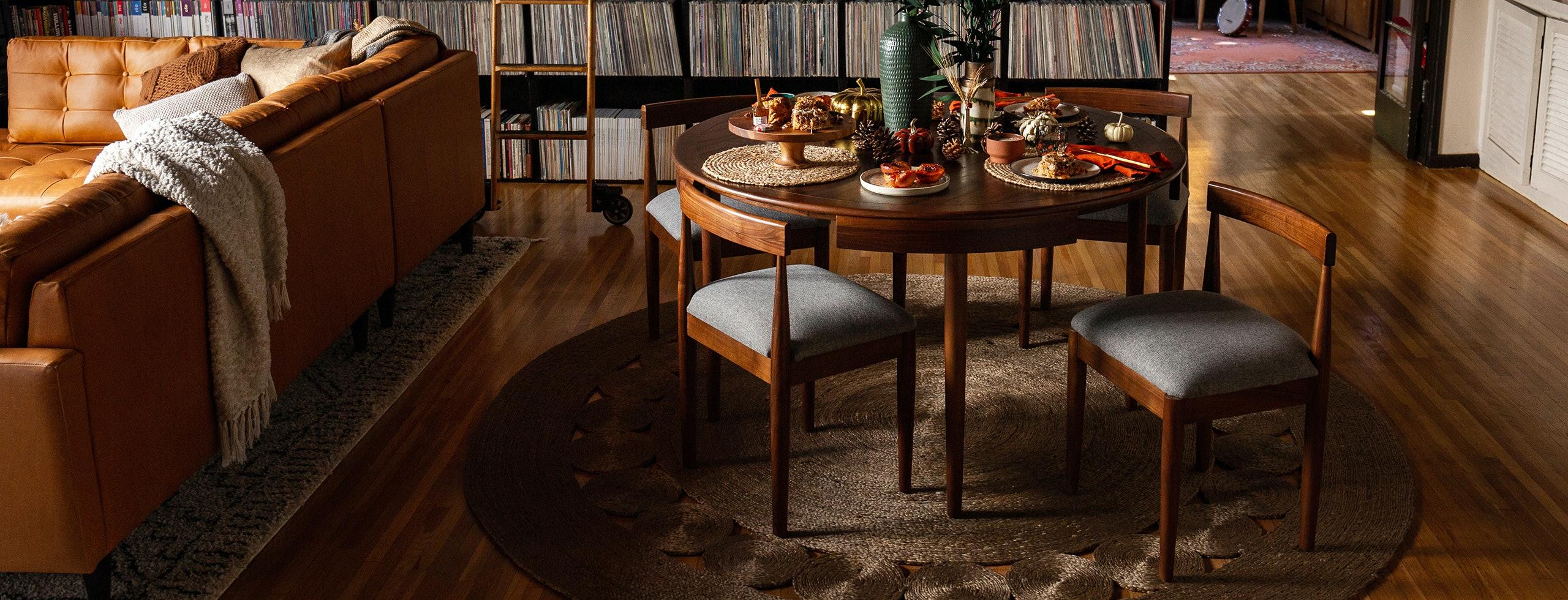 Holiday Record Room Toscano Dining Table Taylor Felt Grey