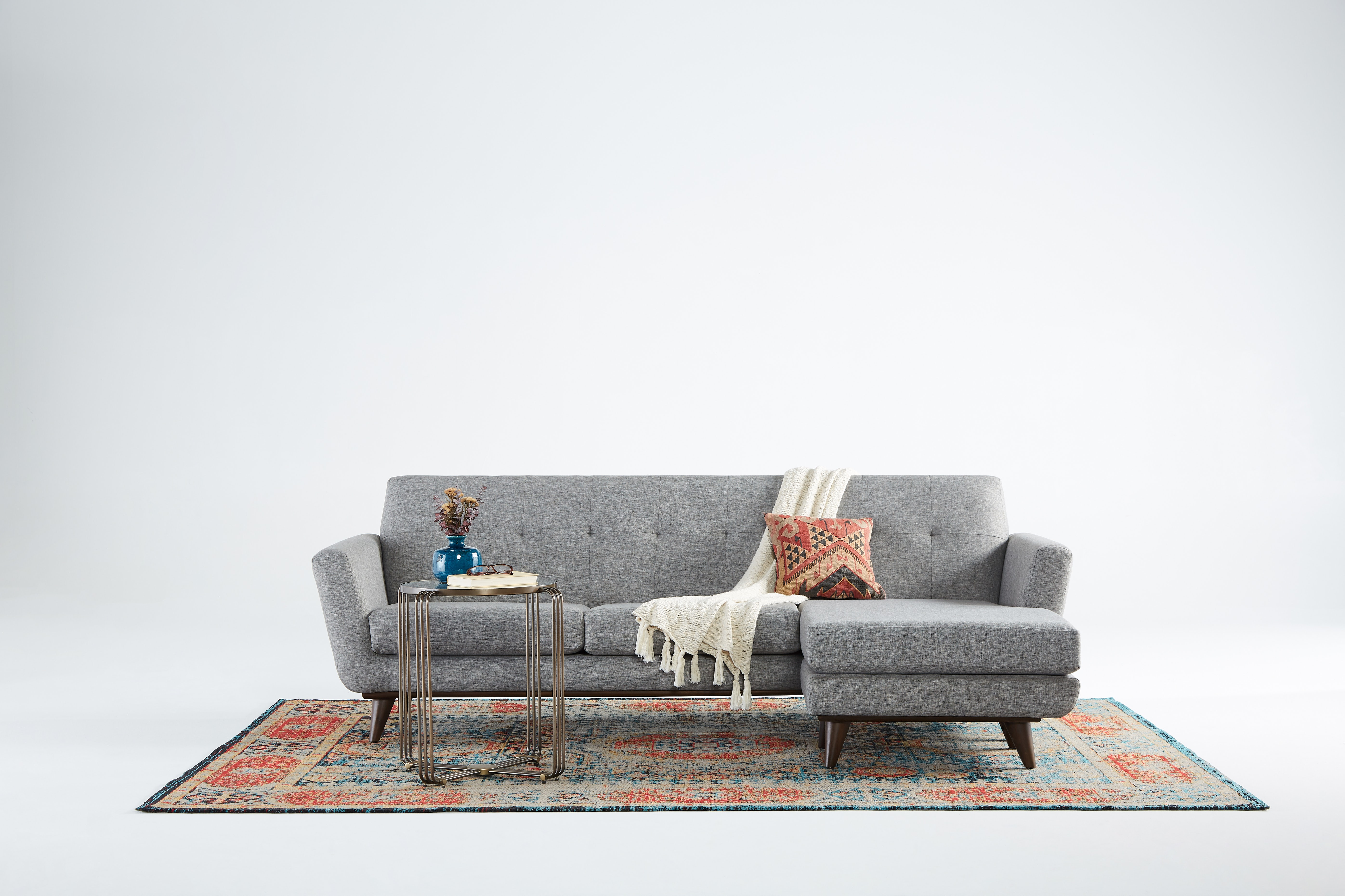 Hughes Reversible Sectional Taylor Felt Grey