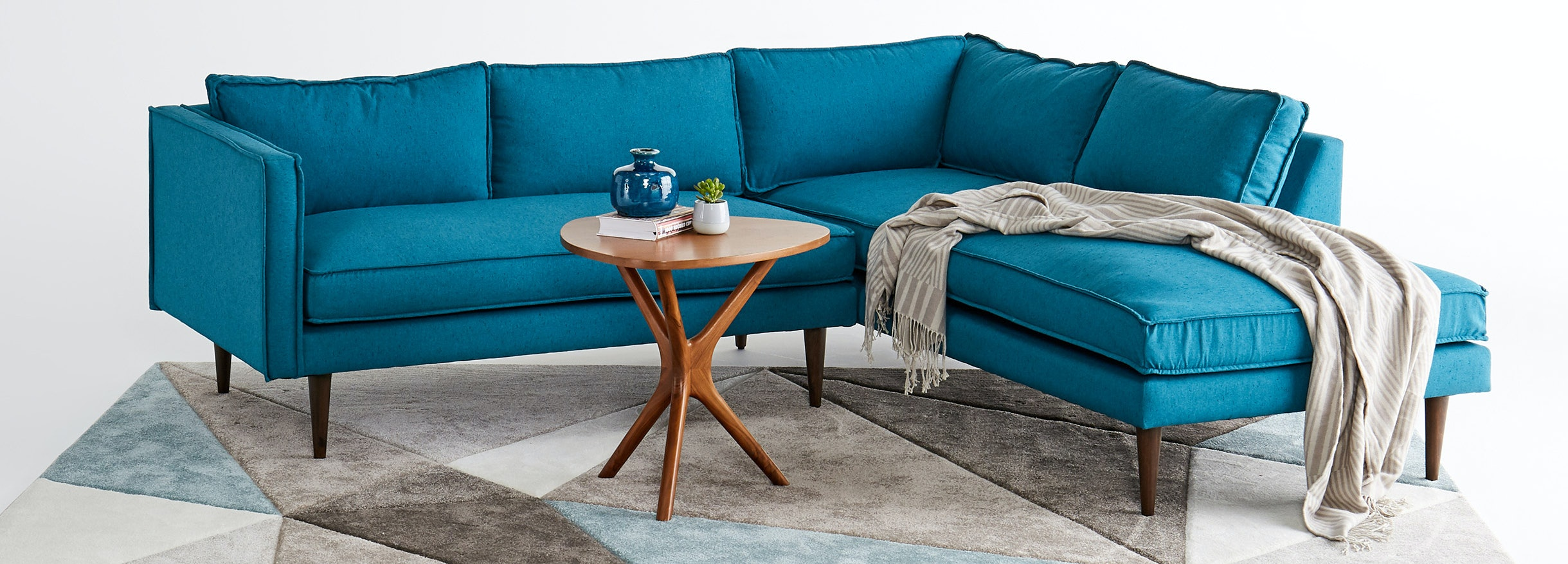 Serena Bumper Sectional Essence Turquoise
