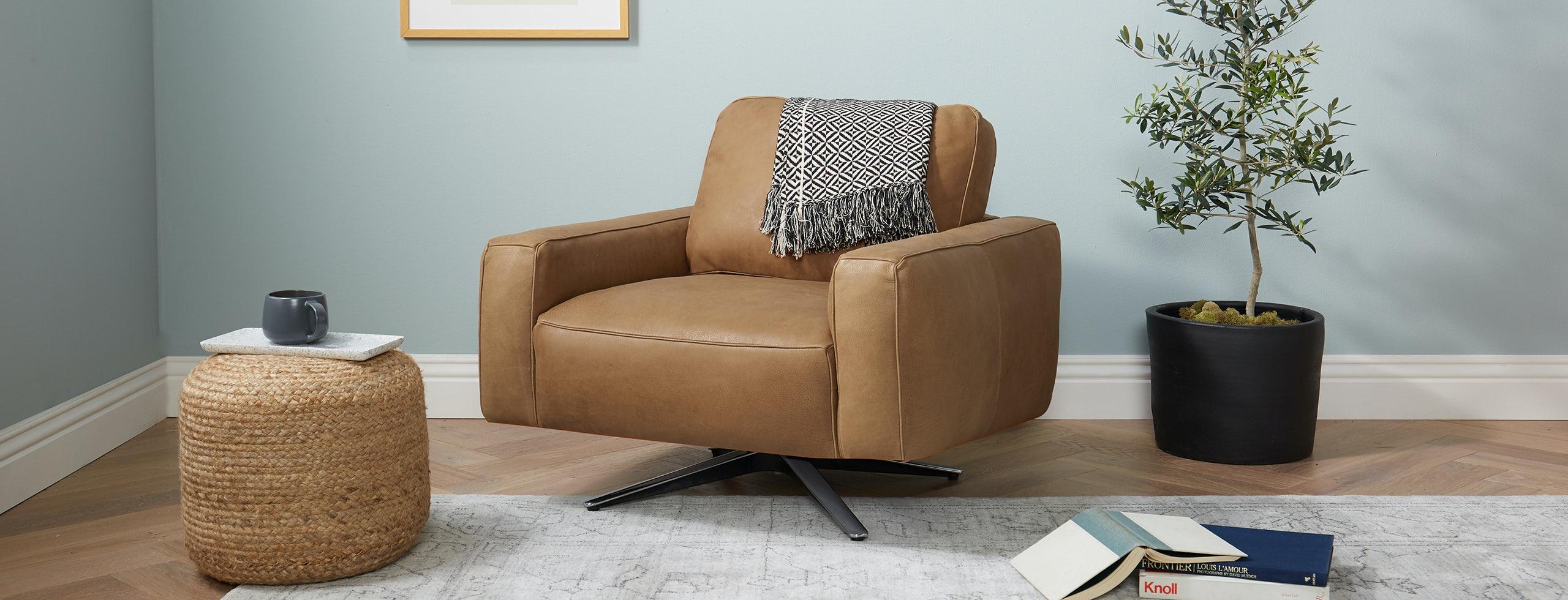 Nova Leather Swivel Chair Toledo Camel